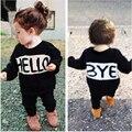 2016 Nuevo otoño invierno de las muchachas del cabrito del algodón ropa de los muchachos de los niños outwear niños bebé de Punto de Manga Larga suéter de la muchacha