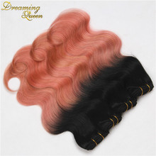 New Fashion Peachy Ombre Malaysian Body Wave Human Hair Weave Bundles,4pcs Rose Gold Ombre 1B Pink Human Hair Extensions
