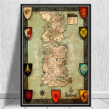 GAME OF THRONES WORLD MAP Movie Poster Wall Art Picture Posters and Prints Canvas Painting for Room Home Decor(China)