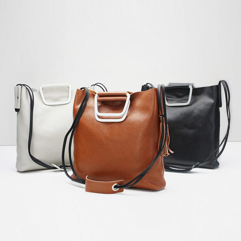 Women genuine leather shoulder bags zipper hasp handbags female solid double straps tote bag European and
