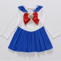 e16edf656cc01 2019 Sailor Moon Cute Anime Kid Baby Girls Cosplay Costumes Bowknot Dress  Kawaii Lolita Sailor Uniform