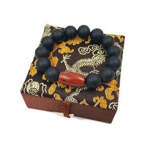 """Image 2 - LiiJi unikalny matowy czarny onyks czerwony Jaspers mężczyźni lub kobiety bransoletka 9 """"z jedwabnym pudełku mężczyzn biżuteria Leo miłośników energii bransoletka równowagi"""