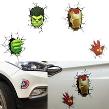 2019 new Avengers 3D car Stickers Marvel/DC Decals 3d Broken Car stickers Ironman Spiderman Batman Creative Stickers Decorations(China)