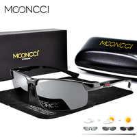 MOONCCI aluminium lunettes de Soleil photochromiques hommes lunettes caméléon polarisées Homme HD lunettes de conduite Anti-éblouissement Lunette Soleil Homme