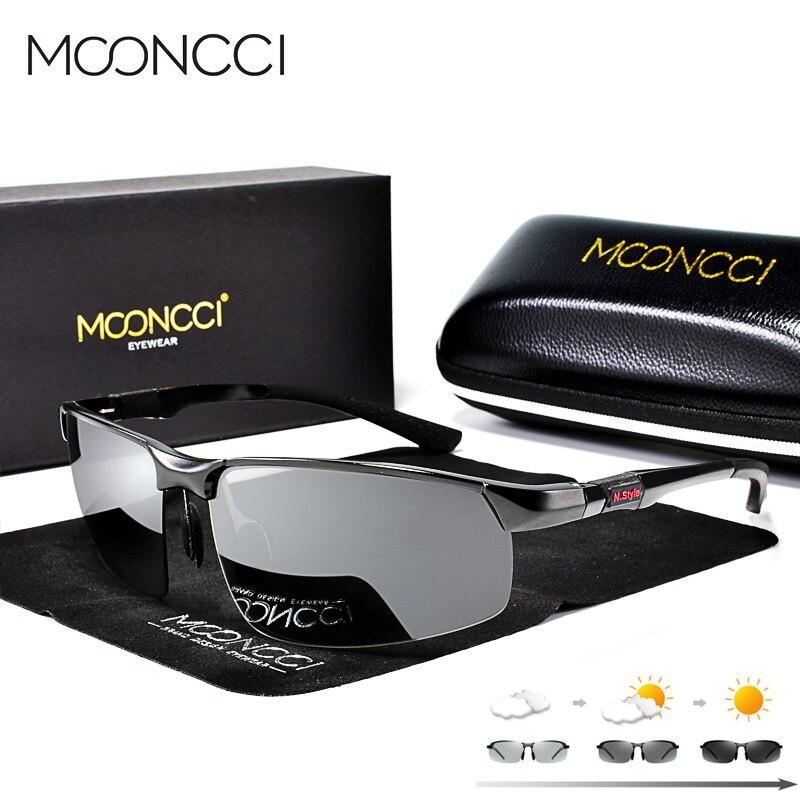 Mooncci alumínio photochromic óculos de sol homem polarizado camaleão masculino hd condução óculos anti-reflexo lunette soleil homme