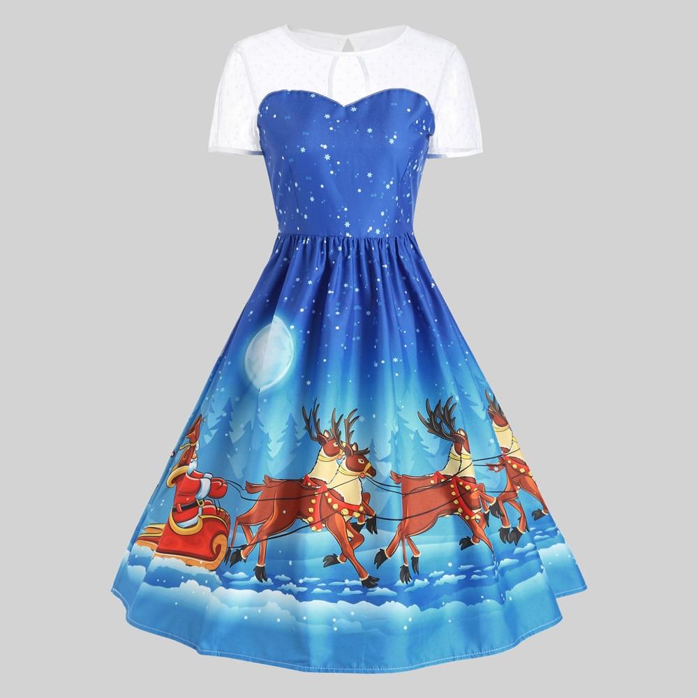d2699d878f169 Women Autumn Lace Dress New 2018 Christmas reindeer Print Dresses Vintage  Tunic Elegant Party Dress Midi