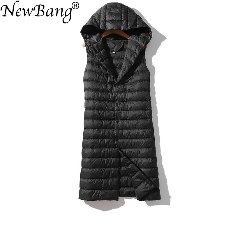 NewBang Brand Women's Long Vest Ultra Light Down Vests Hooded Sleeveless Turn-down Collar Jacket Single Breasted Warm Suit Vest