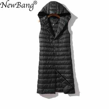 NewBang Brand Women's Long Vest Ultra Light Down Vests Hooded Sleeveless Turn-down Collar Jacket Single Breasted Warm Suit Vest - DISCOUNT ITEM  47% OFF All Category