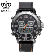 SMAEL Luxury Brand Men Military Sports Watches Men's Quartz LED Hour Analog Clock Male Leather Wrist Watch Relogio Masculino цена 2017