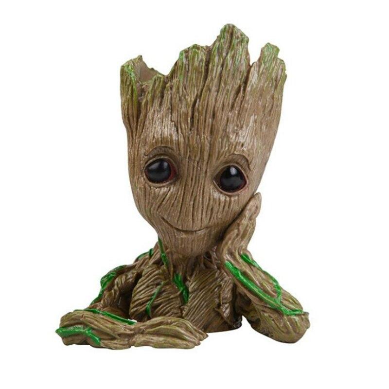Guardians of The Galaxy Avengers Action Figure Model Toy Grooted Tree Flowerpot Man Phoneholder Macetero Pen Planter Flower Pot цена