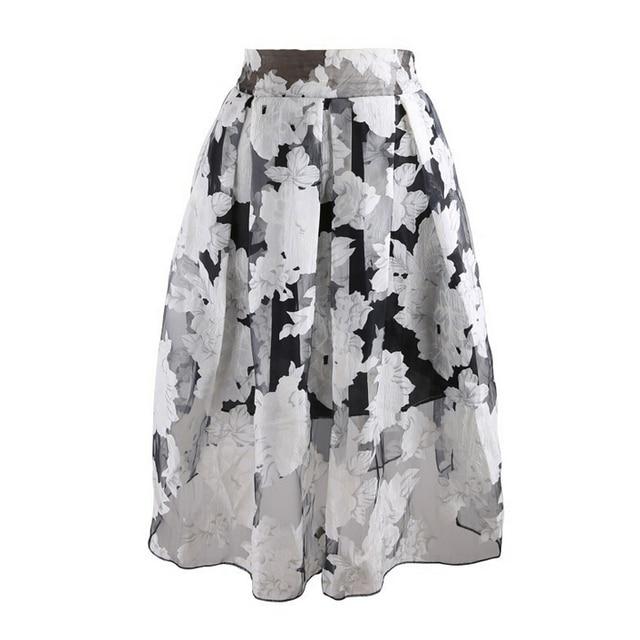 34fd0341c 2015 Summer Spring Elegant Transparent Organza Skirts Big Hem Black White  Pleated Midi Skirt For Women Girl Plus Size S- XL