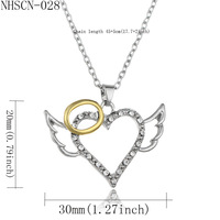 Cross Border Bursting Of Peach Heart Angel Of Wing Dichroic Necklace European Clavicle Chain Accessories GUC124 shouzh jewelry