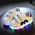 Спортивные Мальчики Shoes Wiht light Kids Shoes 2017 Новая Весна Led Работает Девочки Shoes Children Shoes Chaussure Led Enfant Размер 21-30