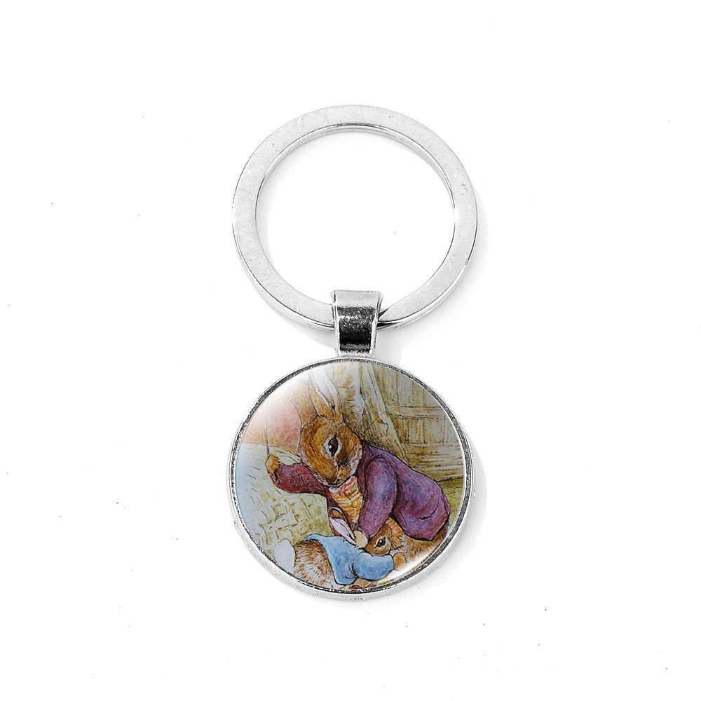 SONGDA Vintage Peter Rabbit Tema Keychain Helen Beatrix Potter Coelho Divertimento Dos Desenhos Animados Impresso Cúpula De Vidro Anel Chave Do Presente para a Menina crianças