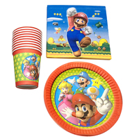 60pcs/lot Baby Shower Super Mario Theme Happy Birthday Party Decoration  Napkins Tableware Set Plates Cups Events Dishes Glass