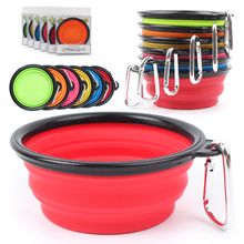 HELLOMOON Color boxed new collapsible silicone dog bowl portable out pet folding Water and food travel Bowl