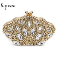 Luxury Crystal Rhinestone Evening Clutch Bag Women Wedding Bag Day Clutches Lady Banquet Gold Clutch Purse Shoulder Bags bolsos
