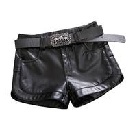 2019 new fleece faux leather women shorts black sexy all match slim fashion lady street wear shorts with belt
