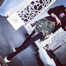 Adult women practice personalized vintage Plaid patchwork Costumes Camouflage Hip hop dance faux two pieces legging