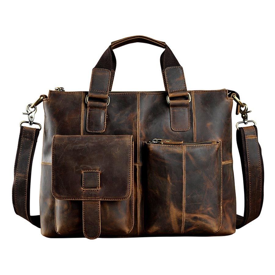 Genuine Leather 14 Business Briefcase Portfolio Top-Handle Pack Mens Handbag Men Crossbody Shoulder Bags Male Messenger BagGenuine Leather 14 Business Briefcase Portfolio Top-Handle Pack Mens Handbag Men Crossbody Shoulder Bags Male Messenger Bag