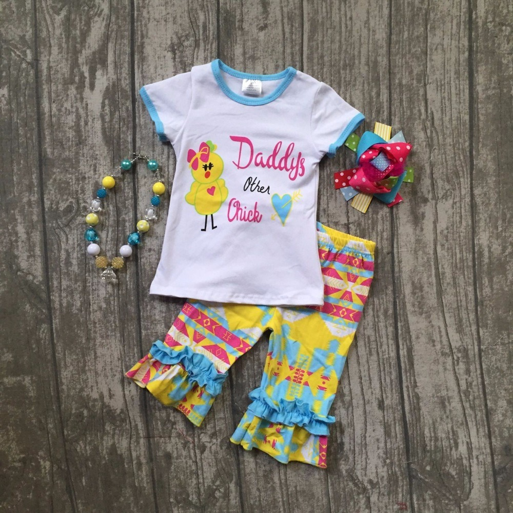baby girls Easter clothing girls Daddy's other chick party outfits children boutique clothes with Azect capri pant with accessor baby kids baseball season clothes baby girls love baseball clothing girls summer boutique baseball outfits with accessories