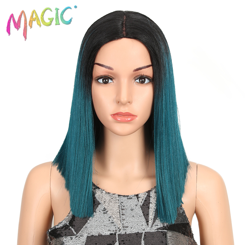 MAGIC Synthetic Wigs Bob Lace-Front Straight Ombre Blonde Middle-Parting Black 9-Color