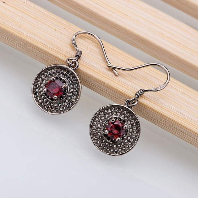 925 sterling silver earrings , 925 silver fashion jewelry , red rounded  /cezakwga dwhamnoa LQ-E094
