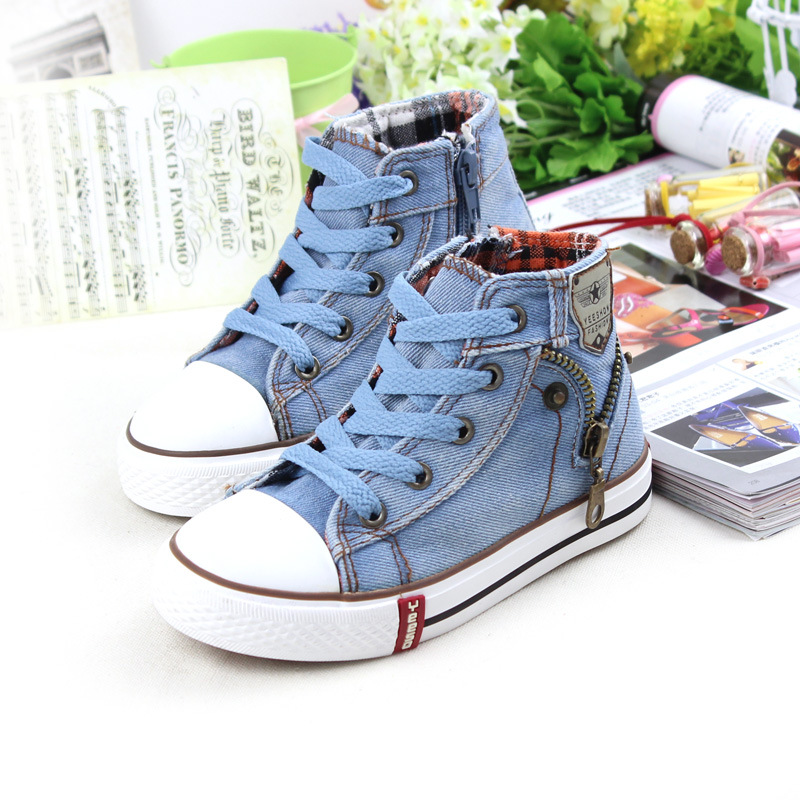 Children's canvas shoes boy female children's shoes sneakers new winter high help students cloth shoes baby shoes