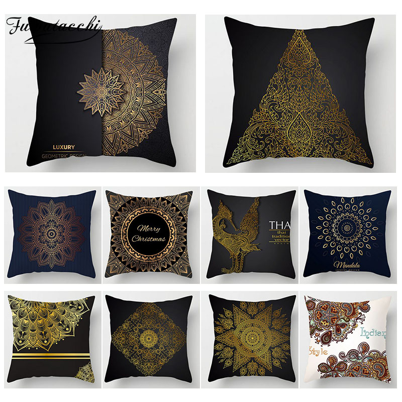 Fuwatacchi Ramadan Decoration Cushion Cover Print Golden Flower Pillow Sofa Chair Home Accessories Case