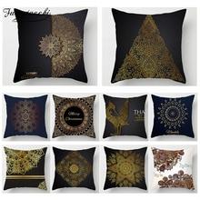 Fuwatacchi Ramadan Decoration Cushion Cover Print Golden Flower Pillow Sofa Chair Home Accessories Case