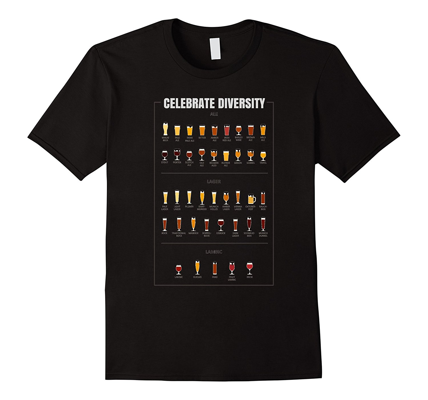 Celebrate Diversity Beer Glass Custom Printed Graphic Tee ...