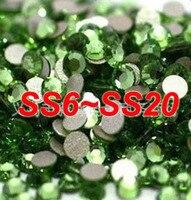 SS6 SS20 1440pcs Lot Round Flatback Light Green Color Non Hot Fix Crystal Rhinestones Fancy Stones