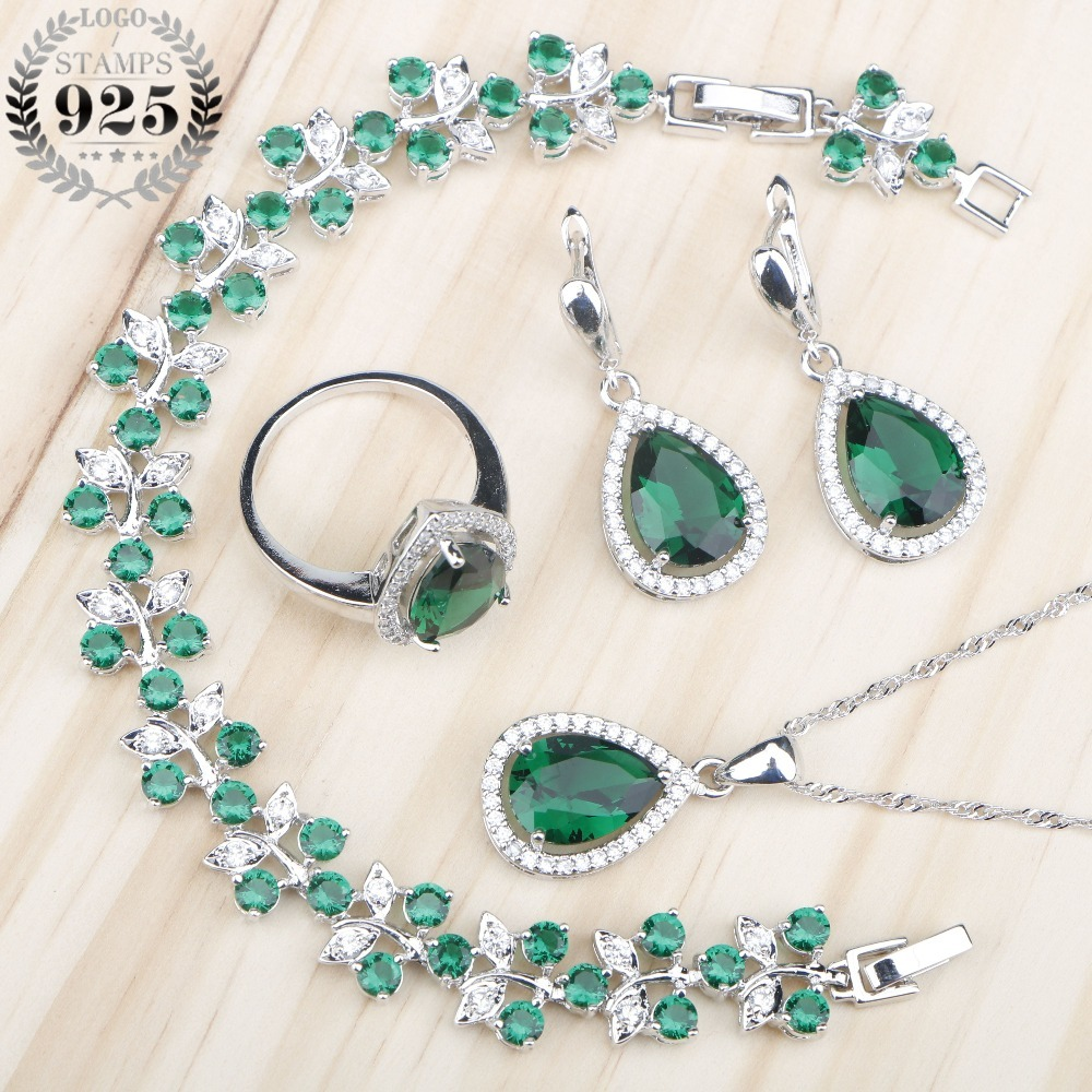 Bridal Green Zircon Women Silver 925 Costume Jewelry Sets Rings Earrings With Stones Necklace Bracelets Set Jewelery Gift Box
