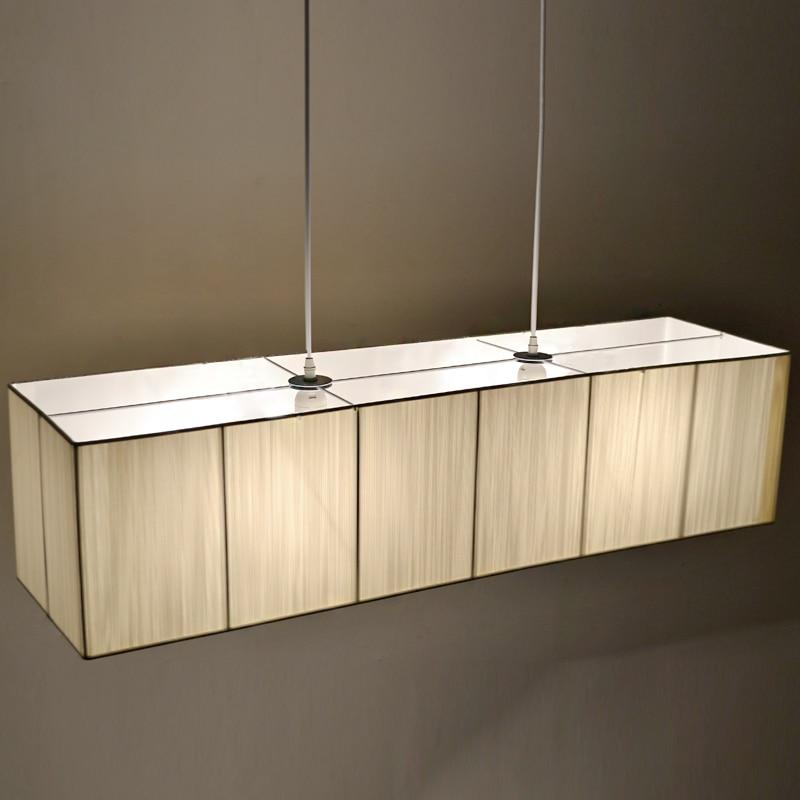 Lampe de Restaurant LED soie moderne suspension salle à manger, simple, rectangulaire lampe suspension ZZP