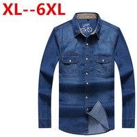 Plus size 9XL 8XL 7XL 6XL 5XL 4XL Spring and Autumn Thin Denim Men Shirts Long sleeve Slim Casual Outerwear Washed Top Shirt