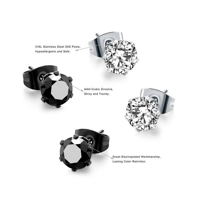 Серьги гвоздики с кристаллами женские 8 шт/комплект