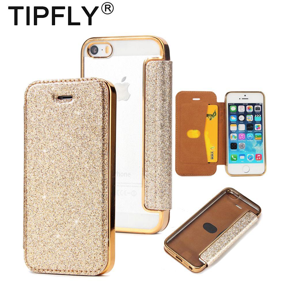 TIPFLY Pour iPhone 5 5S SE Glitter Cas De Mode Flip galvanoplastie Étui En Cuir Pour iPhone 5 Pleine Couverture avec Carte Slot