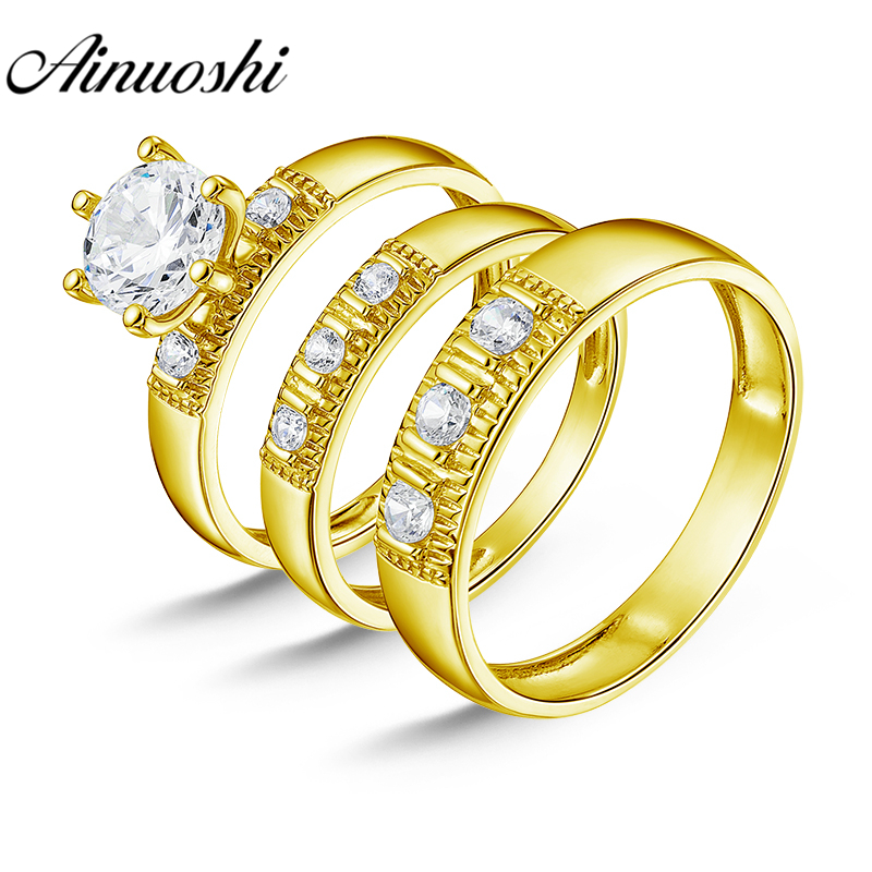 AINUOSHI Real Gold TRIO Rings Set Bridal Rings 3 Stone Male Band 10K Yellow Gold Couple Wedding Rings Set Women Engagement RingsAINUOSHI Real Gold TRIO Rings Set Bridal Rings 3 Stone Male Band 10K Yellow Gold Couple Wedding Rings Set Women Engagement Rings