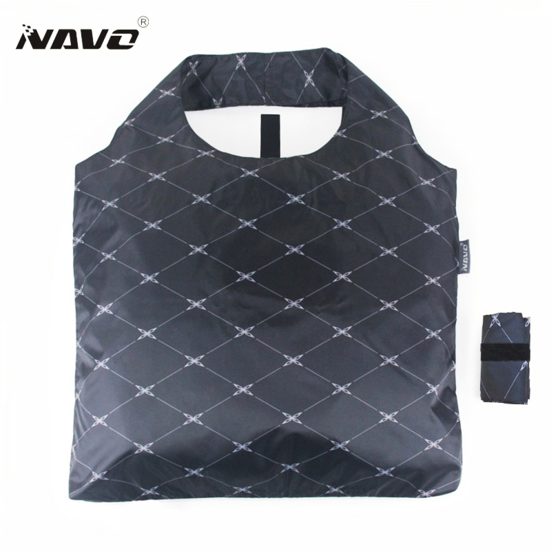 NAVO Brand folding shoping bag foldable reusable grocery bags polyester shopping bags fashion designer casual tote