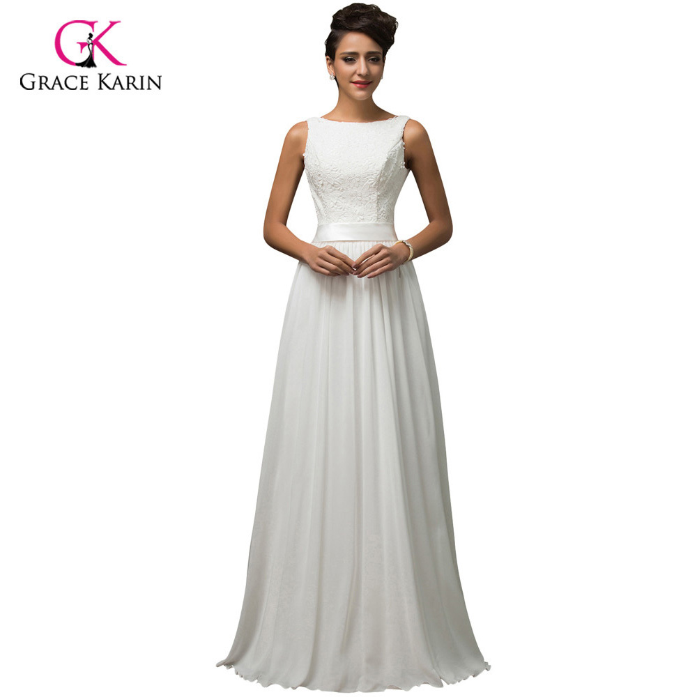 Elegant Women Lace Long White Prom Dresses 2018 Grace Karin Low-Back Party  Gown vestido de festa longo Evening Dress 7560 9296f0de6