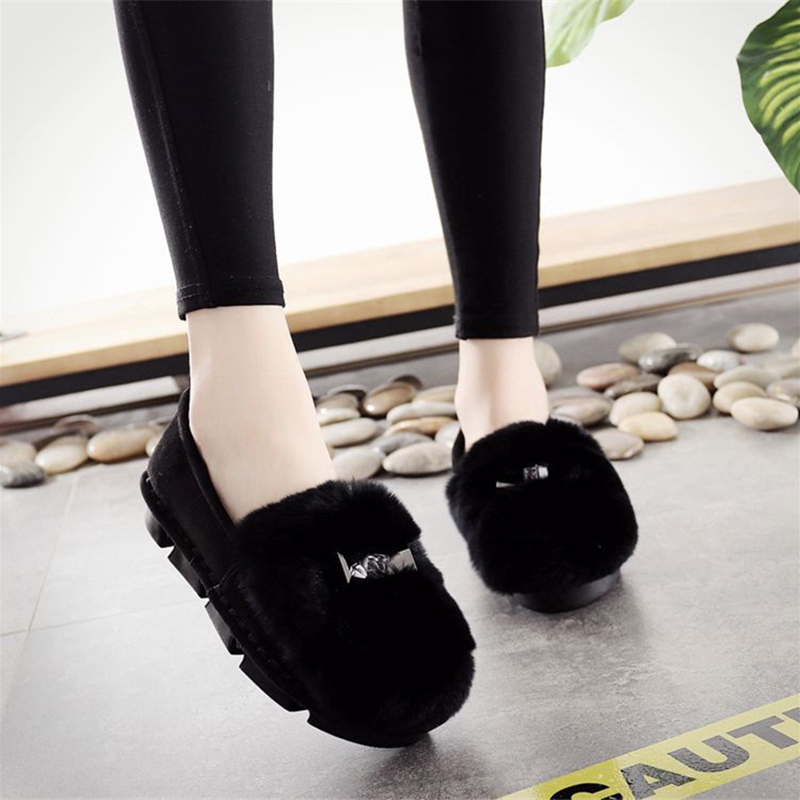Fuzzy Flats Women Shoes Loafers Slip On Platform Fluffy Fashion Ladies Flock Casual Shoe Black Gray Khaki Shoes Fur Winter Flats women shoes flats female shoes slip on rabbit fur autumn winter casual loafers flock short plush plus size 43 black khaki gray