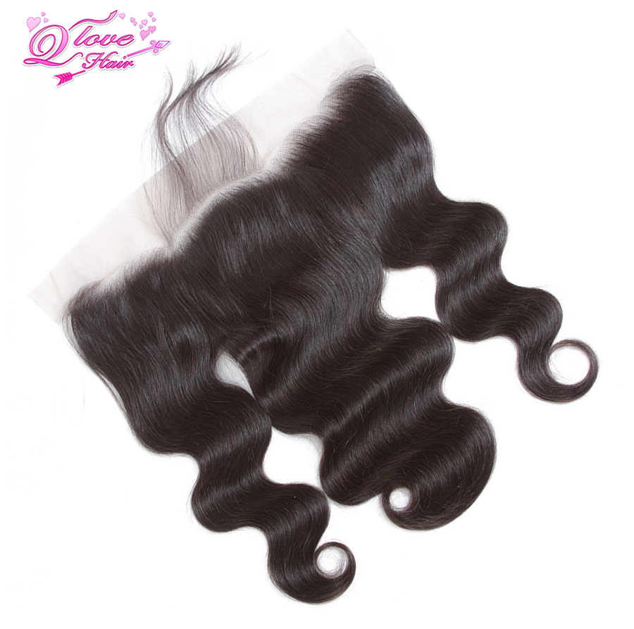Queen Love Hair Peruvian Body Wave 13*4 Lace Frontal Closure 130% Different Size Human Hair Weaving Free Part Remy Hair