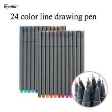 Продажа 24 Цвета 0.38 мм Fineliner ручка Fine Line точка Цветной ручки Книги по искусству маркером на водной основе Ассорти рисунок тушью маркеры, ручки