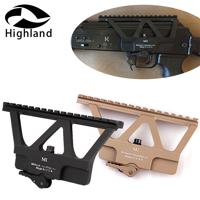 Tactical Hunting  AK 74 Quick Detach AK Gun Rail Scope Mount Base Picatinny Side Rail Mounting For AK 47 Black Tan