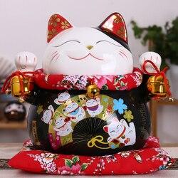 10 cal czarny ceramiczny maneki neko ozdoba kot na szczęście skarbonka Fortune figurka kota chiński posąg skarbonka z dzwony