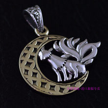 925 sterling silver jewelry OV genuine new golden moon and The Fox Thai silver pendants