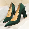 New Women Spring Pumps Fashion Tick Heeled High Heels Shoes Shallow Pointed Sexy Satin Silk Flock Concise Single Shoes G5239-1