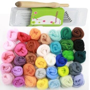 36 unids mezclar colores lana Roving para la aguja DIY diversión muñeca de costura lana cruda 5 g/bolsa con 7 unid lana aguja de fieltro