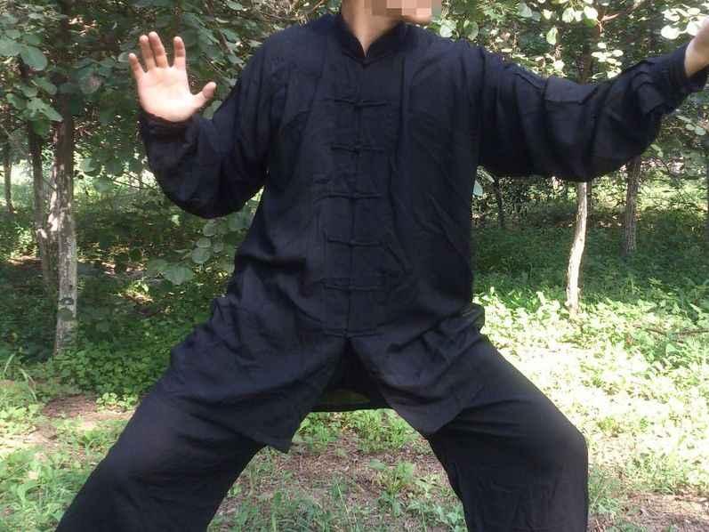 5色ユニセックス純粋な綿グレー/カーキ/黒/青武術武道制服太極拳服太極拳カンフースーツ高品質