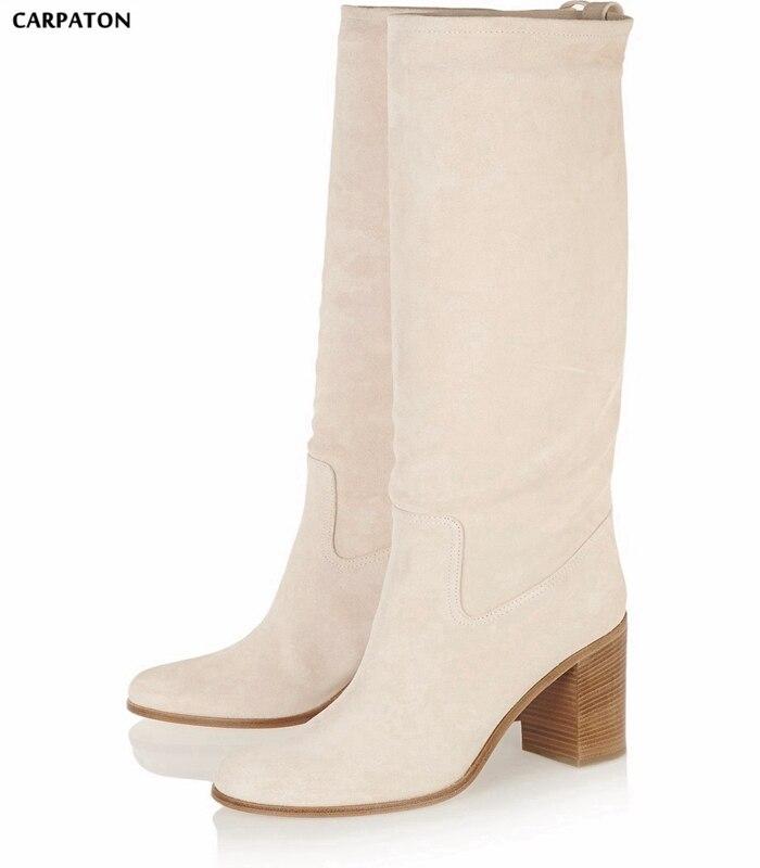 Carpaton Stretch Fabric Women Boots Round Toe Square Heel Slip-on Knee High Women Autumn Boots High Heel Runway Boots